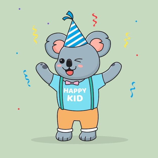 Śliczny Szczęśliwy Urodziny Koala W Kapeluszu Premium Wektorów