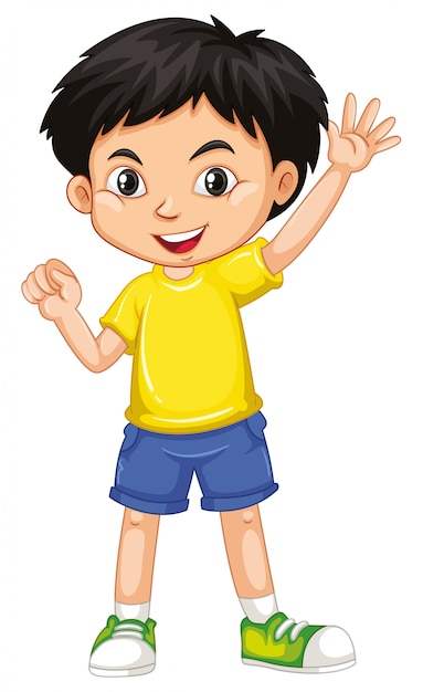 Śliczny Szczęśliwy Uśmiechnięty Dziecko Odizolowywający Na Bielu Darmowych Wektorów