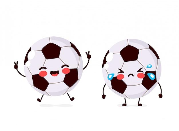 Śliczny Szczęśliwy Uśmiechnięty I Smutny Płacz Charakter Piłki Futbolowej. Ikona Ilustracja Kreskówka Płaski. Pojedynczo Na Białym. Postać Piłki Nożnej Premium Wektorów