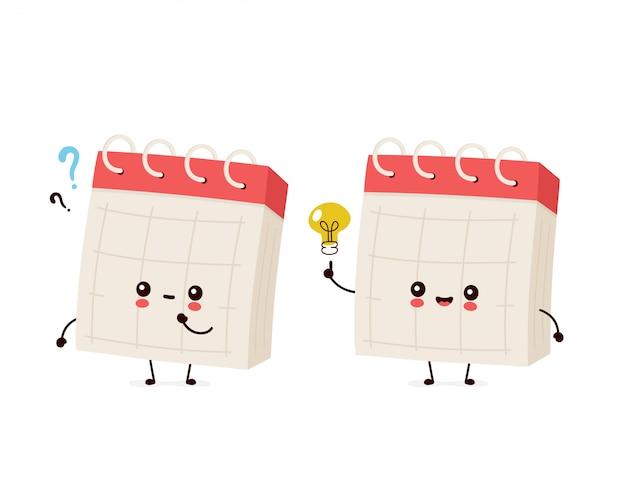 Śliczny Uśmiechnięty Szczęśliwy Biurko Kalendarz Z Znaka Zapytania I Pomysłu Lightbulb Premium Wektorów