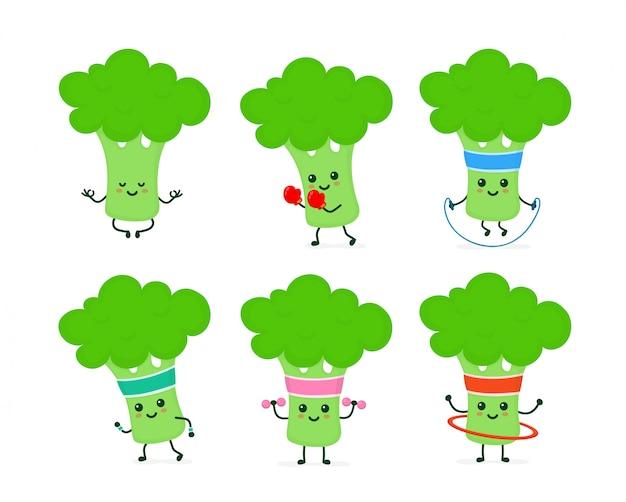 Śliczny uśmiechnięty szczęśliwy silny brokułów set Premium Wektorów