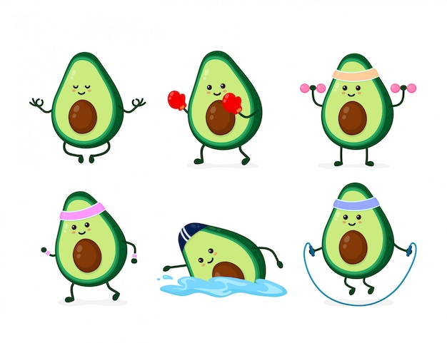Śliczny Uśmiechnięty Szczęśliwy Silny Silny Avocado Zdrowie I Fitness Set Premium Wektorów