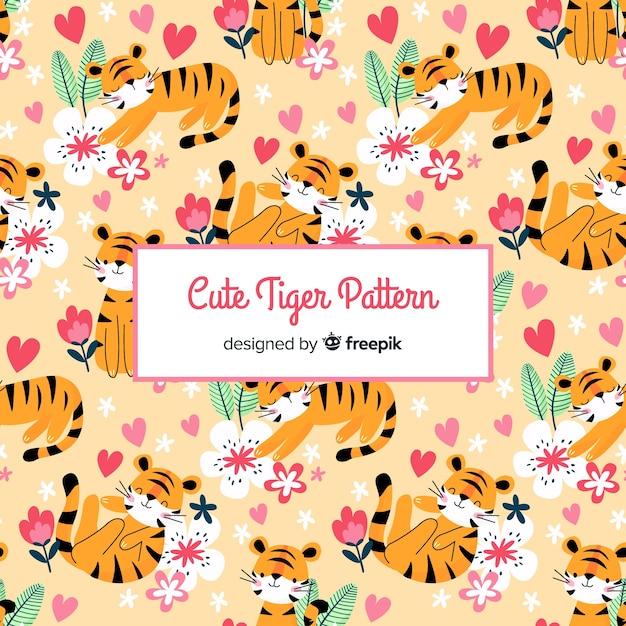 Śliczny wzór tygrysa Darmowych Wektorów