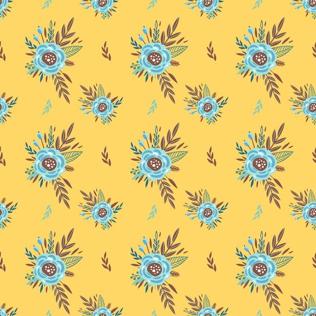 Śliczny Wzór Z Małym Kwiatkiem. Małe Kolorowe Kwiaty. żółte Tło. Ditsy Tle Kwiatów. Elegancki Szablon Do Nadruków Modowych Premium Wektorów