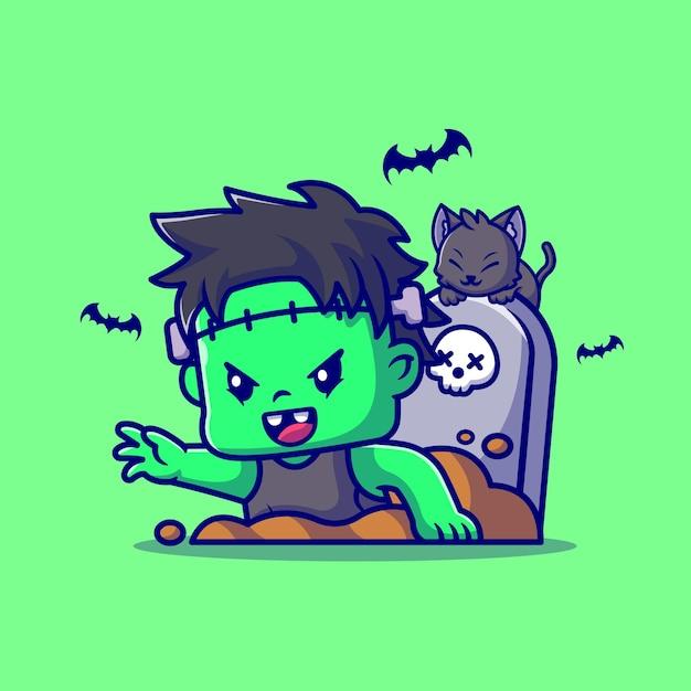 Śliczny Zombie Frankenstein Z Grobu Ilustracja Kreskówka. Ludzie Halloween Koncepcja Na Białym Tle. Płaski Styl Kreskówki Darmowych Wektorów