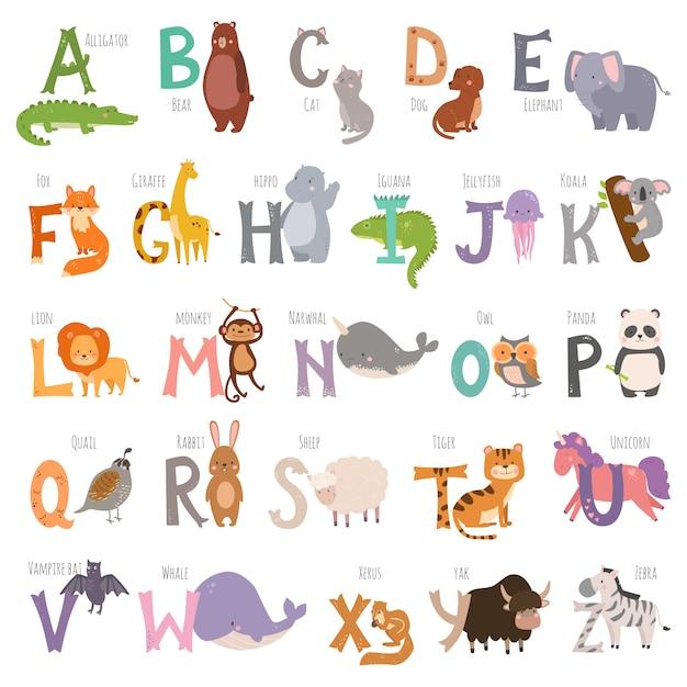 Śliczny zoo angielski abecadło z kreskówek zwierzętami odizolowywającymi Premium Wektorów