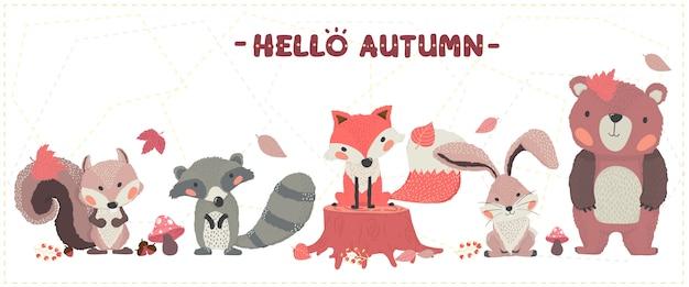 Śliczny Zwierzę Lasy Szczęśliwy Jesień Lis, Bóbr, Wiewiórka, Królik I Niedźwiedź Ustawić Pomysł Na Baner I Drukowania Kart Okolicznościowych Premium Wektorów