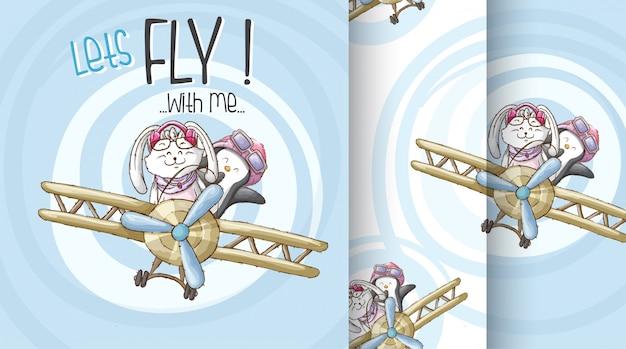 Śliczny zwierzę na samolot deseniowej ilustraci Premium Wektorów