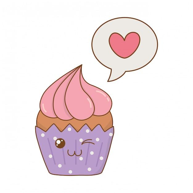 Słodka babeczka z kawą w kształcie serca z bąbelkami Premium Wektorów