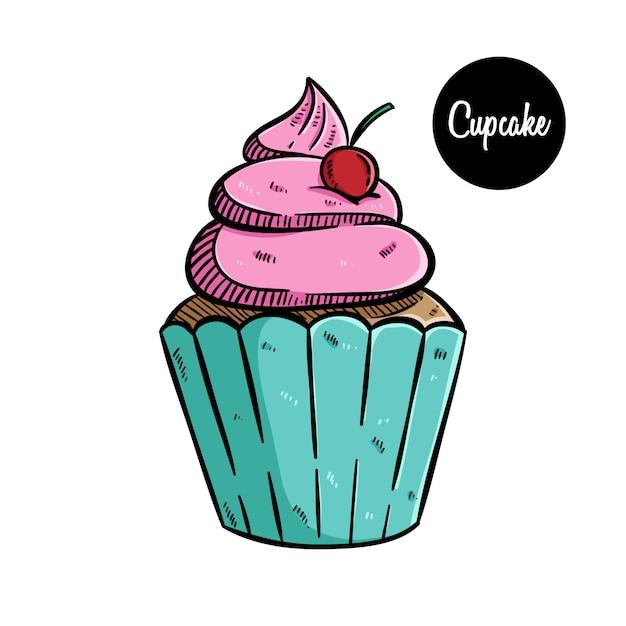 Słodka Babeczki Ilustracja Z Barwioną Ręką Rysującą Sztuką Premium Wektorów