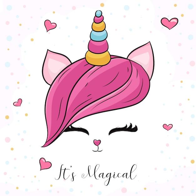 Słodka głowa jednorożca z różowymi włosami Premium Wektorów