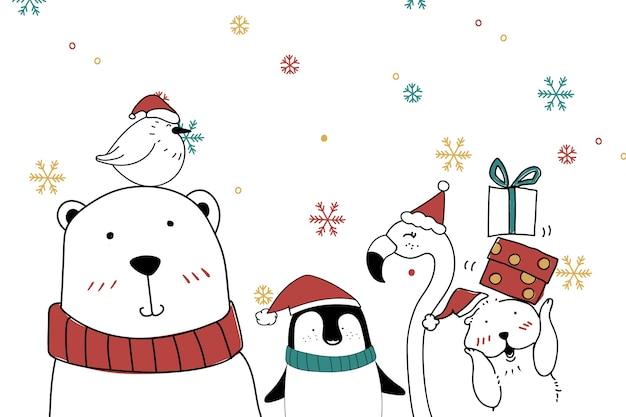 Słodka Kartka świąteczna Zwierząt Niedźwiedzia Polarnego Darmowych Wektorów