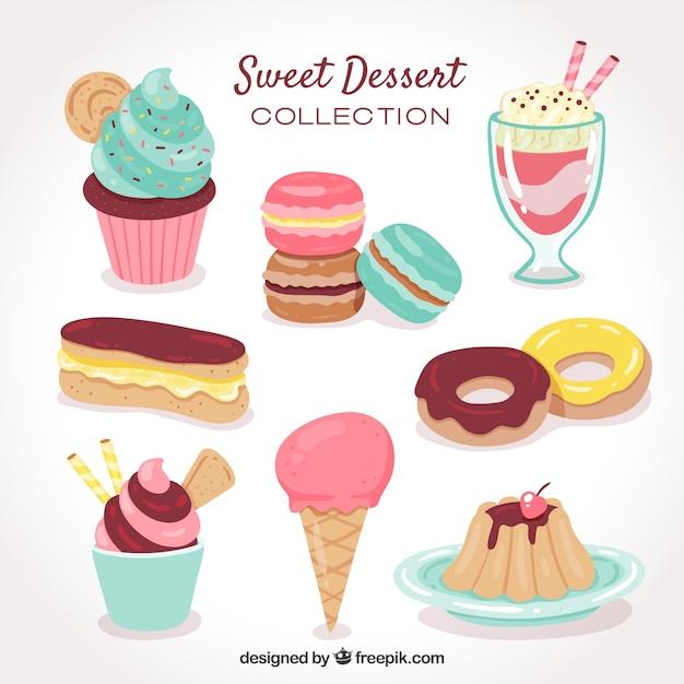 Słodka Kolekcja Deserów W Stylu Wyciągnąć Rękę Premium Wektorów