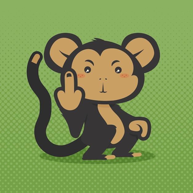 Słodka Małpa Pokazująca Symbol Fuck You Darmowych Wektorów