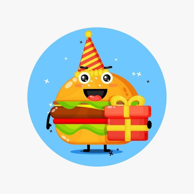 Słodka Maskotka Burger Na Urodziny Premium Wektorów