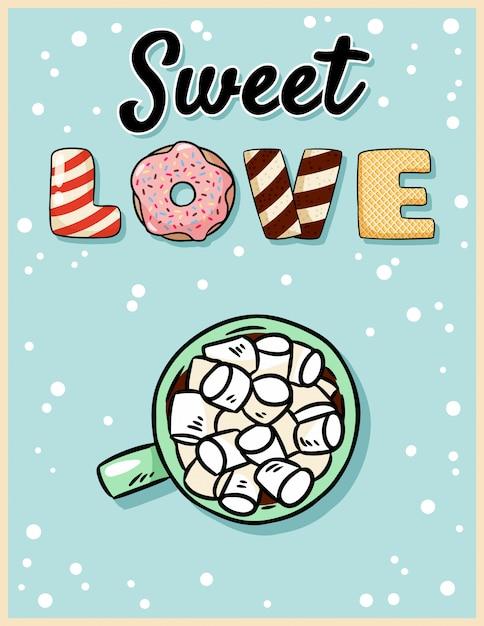 Słodka Miłość Kakao Gorąca Czekolada Z Pocztówką Smaczne Ptasie Mleczko Premium Wektorów