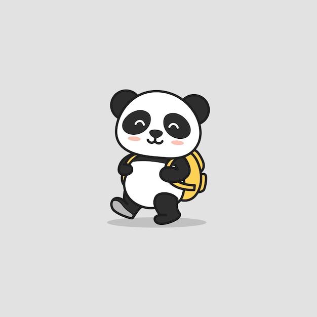 Słodka Panda Gotowa Do Szkoły Premium Wektorów