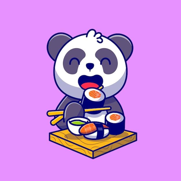 Słodka Panda Jedzenie Sushi Z łososia Z Pałeczkami Kreskówka Ikona Ilustracja. Premium Wektorów
