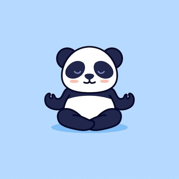 Słodka Panda Jogi Premium Wektorów
