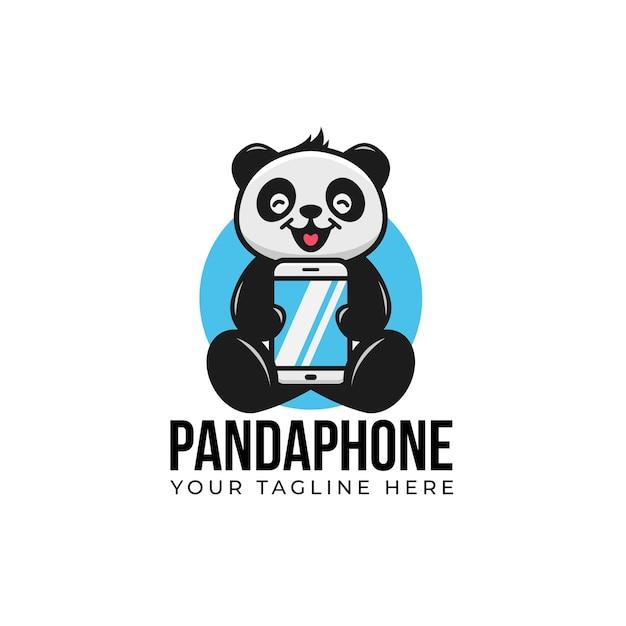Słodka Panda Kreskówka Uśmiechnij Się I Przytrzymaj Gadżet Smartfona Maskotka Z Logo Telefonu Premium Wektorów