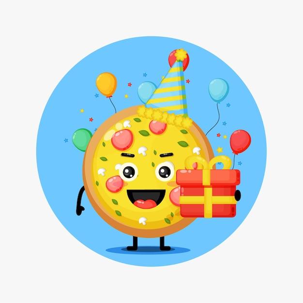 Słodka Pizza Maskotka Na Urodziny Premium Wektorów