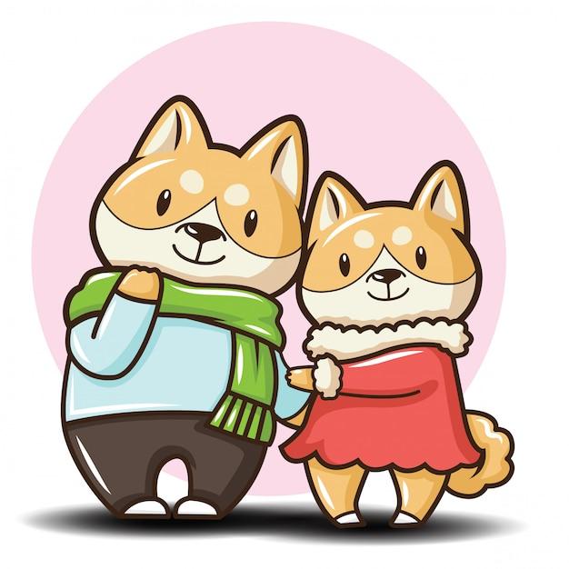 Słodka postać z kreskówki shiba inu pies. Premium Wektorów