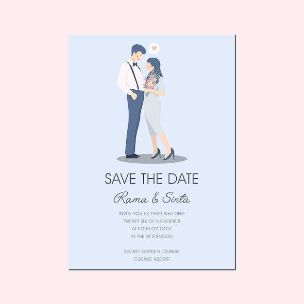 Słodka Romantyczna Para Postać Ilustracja Zaproszenie Na ślub Zapisz Data Premium Wektorów