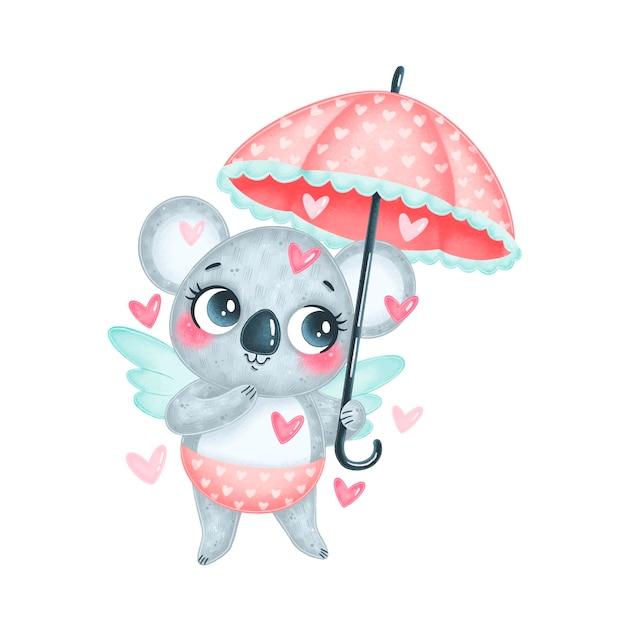 Słodki Amorek Koala Kreskówka Na Białym Tle. Walentynkowe Zwierzęta. Premium Wektorów