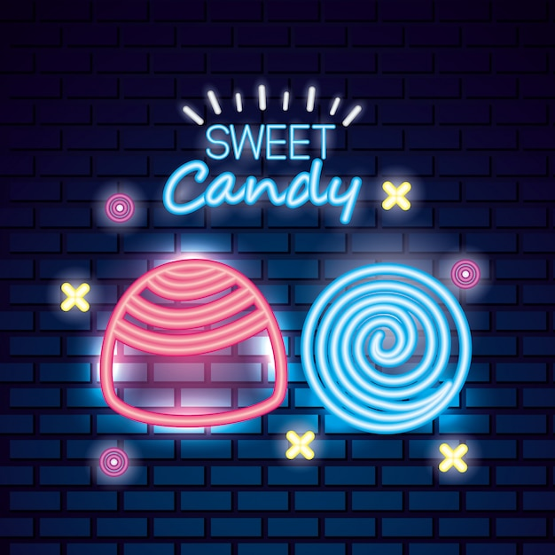 Słodki Cukierek Neon Darmowych Wektorów