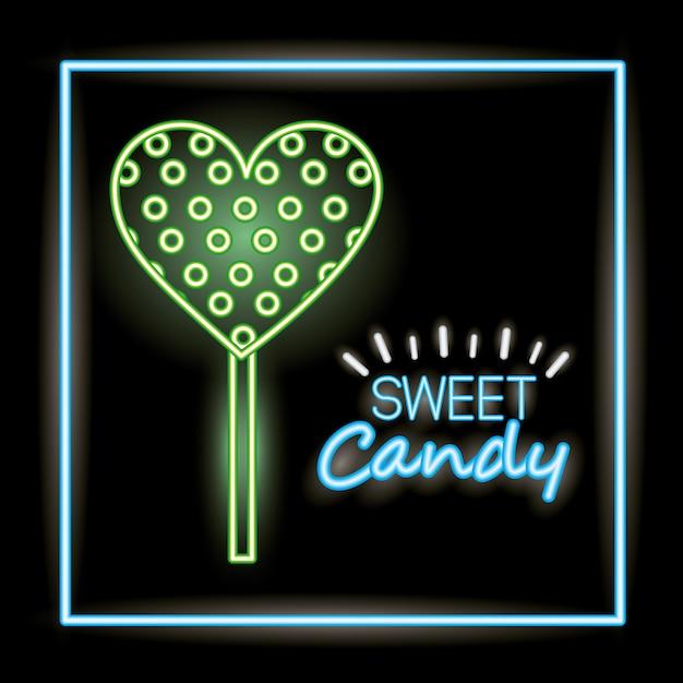 Słodki Cukierek W Stylu Neonowym Darmowych Wektorów