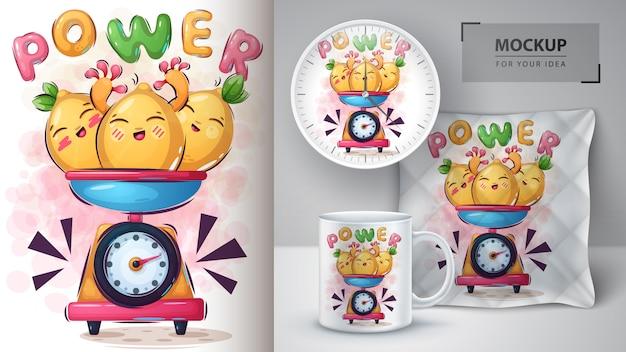 Słodki Cytrynowy Potwór Plakat I Merchandising Premium Wektorów