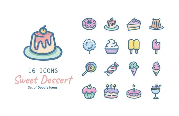 Słodki Deser Wektor Ikona Kolekcji Projektu Premium Wektorów