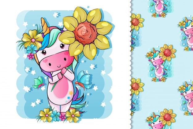 Słodki Jednorożec Z Kwiatami Premium Wektorów