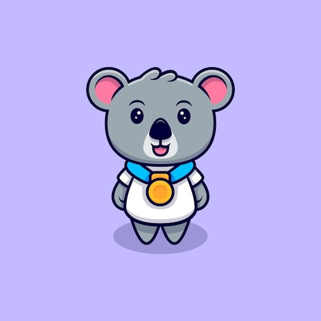 Słodki Koala Ubrany W Kreskówka Maskotkę Złoty Medal Premium Wektorów