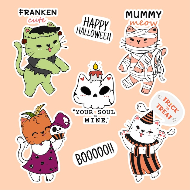 Słodki Kot Kolekcja Naklejek Na Halloween, Głowa Dyni, Mumia Premium Wektorów