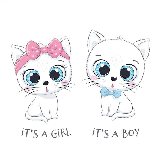 """Słodki Kotek Z Frazą """"to Chłopiec"""" I """"to Dziewczynka"""" Premium Wektorów"""