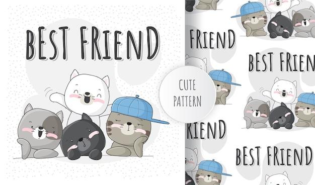 Słodki Kotek Zwierzęcy Z Zestawem Wzorów Najlepszego Przyjaciela Premium Wektorów
