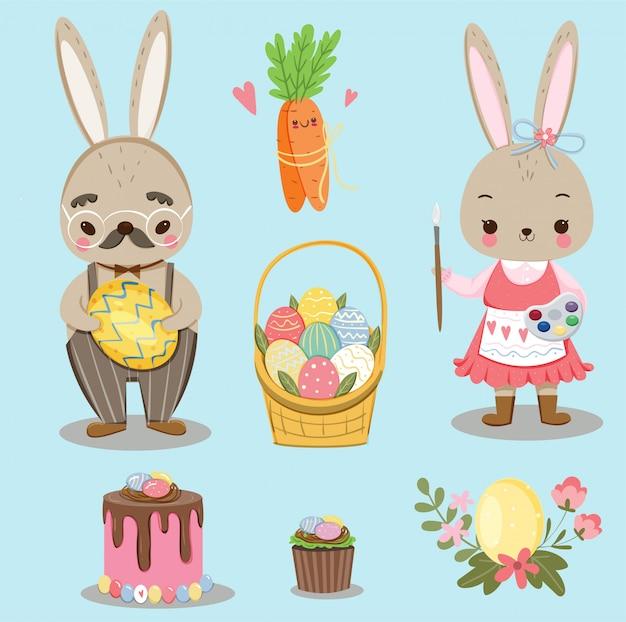 Słodki Króliczek I Różnorodne Słodkie Elementy Na święta Wielkanocne Premium Wektorów