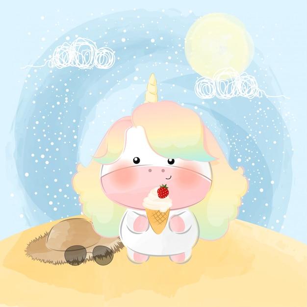 Słodki Mały Jednorożec I Szczęśliwy Letni Dzień Premium Wektorów