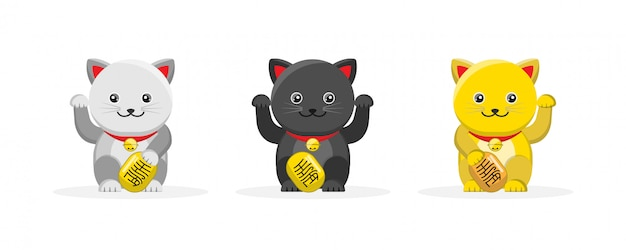 Słodki Maneki Neko, Szczęśliwy Kot, Maskotka Postać Z Kreskówki Premium Wektorów