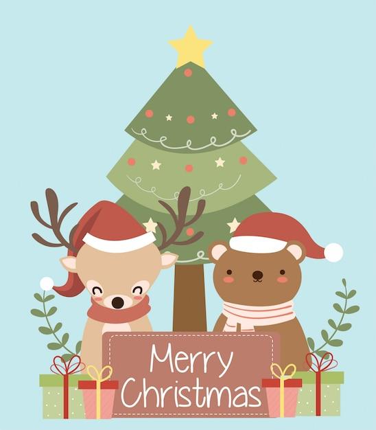 Słodki Miś I Renifery Z Santa Hat Na Boże Narodzenie Kartkę Z życzeniami Premium Wektorów