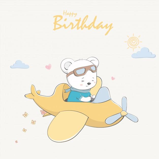 Słodki miś latający samolot kreskówka wszystkiego najlepszego z okazji urodzin i zaproszenia karty. Premium Wektorów