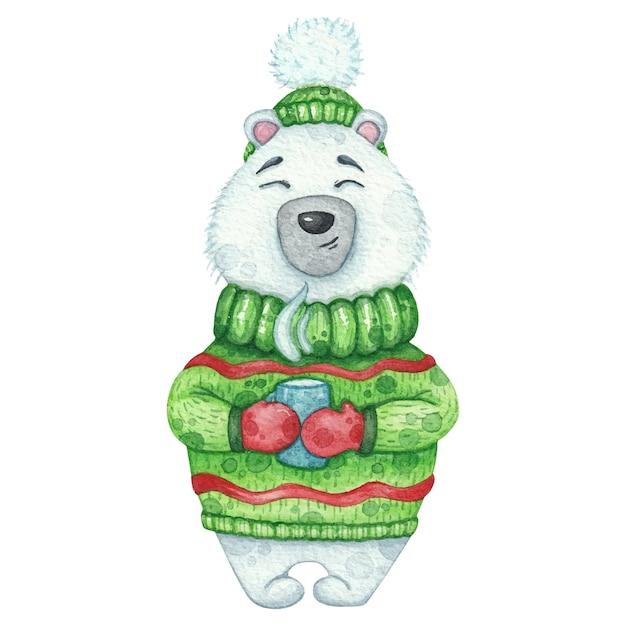 Słodki miś polarny w zielonym swetrze i czapce z filiżanką gorącego napoju. akwarela ilustracja na boże narodzenie Premium Wektorów