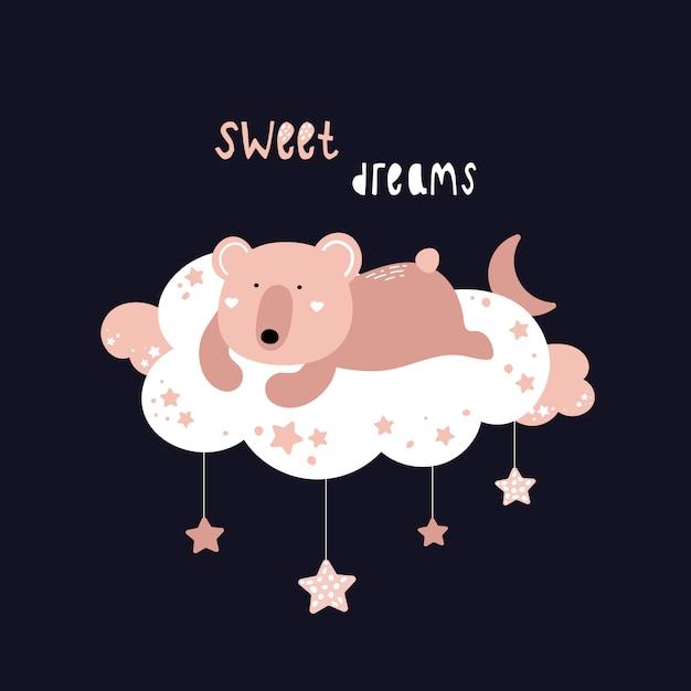 Słodki miś śpi na chmurze. Premium Wektorów