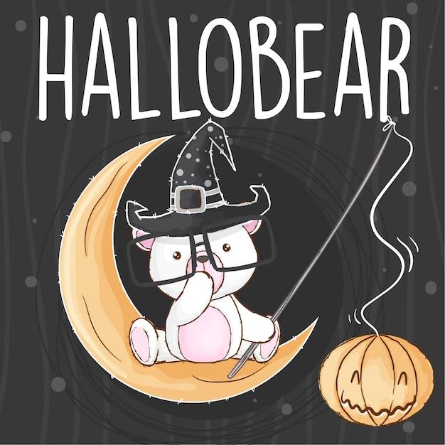 Słodki niedźwiedź halloween ręcznie rysowane wektor zwierzę Premium Wektorów