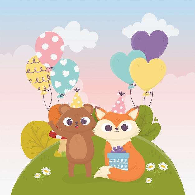 Słodki Niedźwiedź Lis Z Darów Balony Trawa Kwiaty Zwierzęta Uroczystości Szczęśliwy Dzień Ilustracja Premium Wektorów