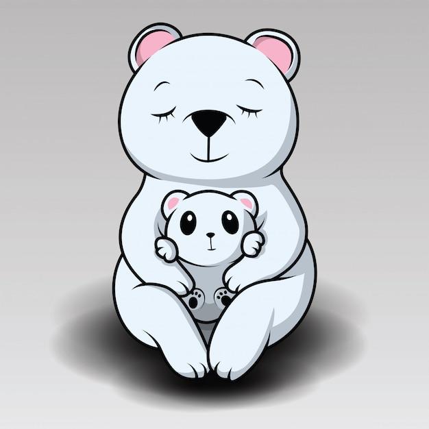 Słodki niedźwiedź polarny się śmieje Premium Wektorów