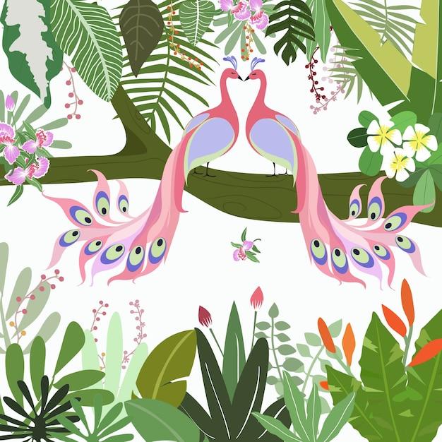Słodki para pawi w tropikalnym lesie. Premium Wektorów