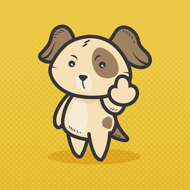 Słodki Pies Pokazujący Symbol Fuck You Darmowych Wektorów