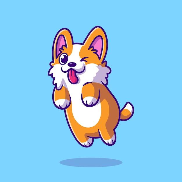 Słodki Skaczący Pies Corgi. Płaski Styl Kreskówki Premium Wektorów
